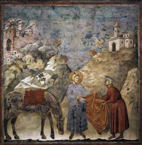 Legend of St Francis: 2. St Francis Giving his Mantle to a Poor Man