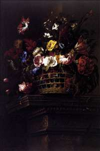 Basket of Flowers on a Plinth