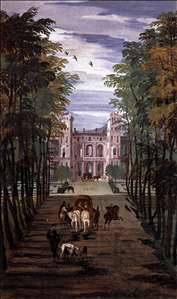 Landscape with Villa and Carriages (detail)