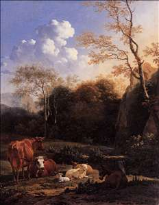 Cows and Sheep at a Stream