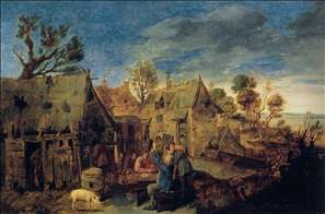 Village Scene with Men Drinking