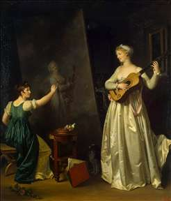 Artist Painting a Portrait of a Musician