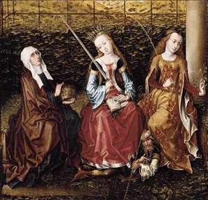 St Catherine of Alexandria with Sts Elizabeth of Hungary and Dorothy