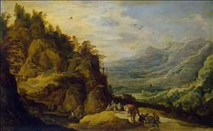 Mountainous Landscape with Figures and a Donkey