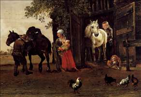 Figures with Horses by a Stable (detail)