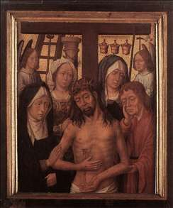 Man of Sorrows with Mary and John and Two Holy Women