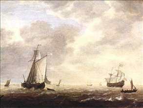 A Dutch Man-of-war and Various Vessels in a Breeze