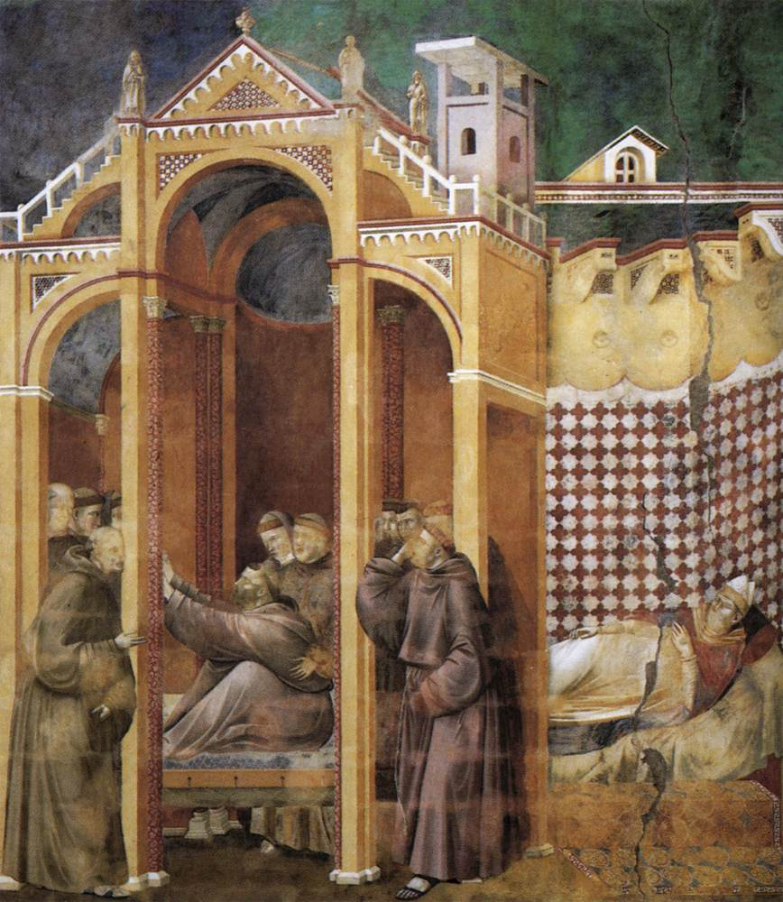Legend of St Francis: 21. Apparition to Fra Agostino and to Bishop Guido of Arezzo