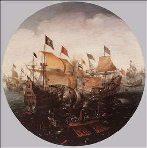 Sea Battle between Dutch and Spanish Boats