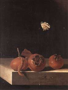 Three Medlars with a Butterfly