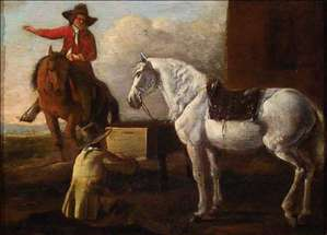 Young Artist Painting a Horse and Rider