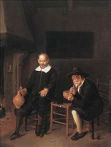 Interior with Two Men by the Fireside