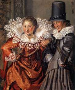 Dignified Couples Courting (detail)