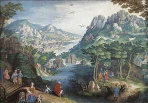 Mountain Landscape with River Valley and the Prophet Hosea
