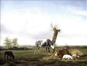Cattle and Goats in a Meadow