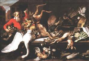 Still Life with Dead Game, Fruits, and Vegetables in a Market