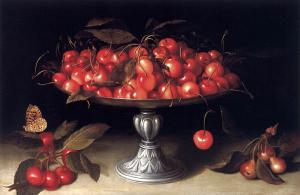 Cherries in a Silver Compote