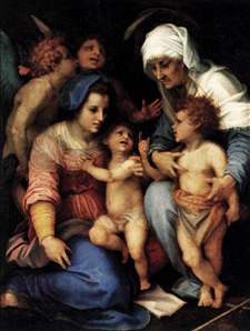 Madonna and Child with St Elisabeth, the Infant St John, and Two Angels