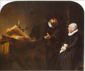 The Mennonite Minister Cornelis Claesz. Anslo in Conversation with his Wife, Aaltje