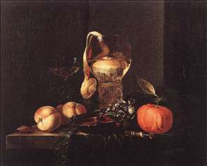 Still-Life with Silver Bowl, Glasses, and Fruit