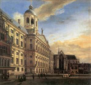 Amsterdam, Dam Square with the Town Hall and the Nieuwe Kerk