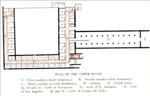 Plan of the upper floor in the Convento di San Marco