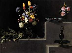 Still Life with Flowers, Artichokes, Cherries and Glassware