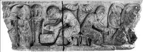 Stages in carving of a capital