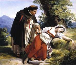 Young Monk Waking a Roman Peasant Girl