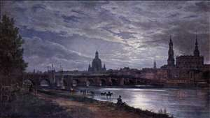 View of Dresden at Full Moon