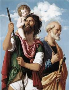 St Christopher with the Infant Christ and St Peter