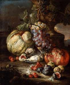Still-Life with Fruit and Dead Birds in a Landscape