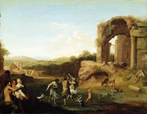 Figures Dancing near Ruin