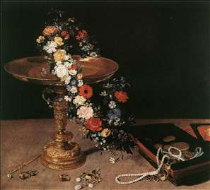 Still-Life with Garland of Flowers and Golden Tazza