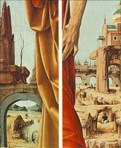 St Peter and St John the Baptist, details (Griffoni Polyptych)