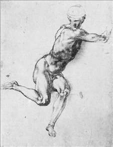 A Man: Study for a figure in Battle of Cascina cartoon